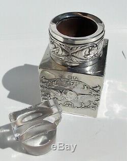 Victorian William Comyns Bouteille Parfumée À L'angle Carré Reynolds En Argent, Argent Massif