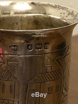 Victorien En Argent Massif Beaker / Coupe C. 1896 Londres Hallmark Unknown Maker