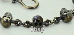Victorien Solide Sterling Silver Memento Mori 12 Skulls Chaîne De Montres De Poche Fob