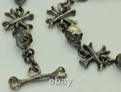 Victorien Solide Sterling Silver Memento Mori 9 Skulls Chaîne De Montres De Poche Fob