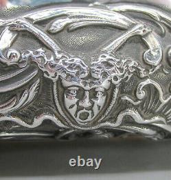 Victorien Wonderful Large Heavy Solide Silver Émbossé Jewellery Box 702g 1897