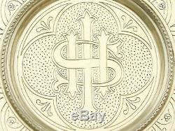 Victorienne Antique Sterling 1870s Vermeil Et Canneberges Verre Communion Set