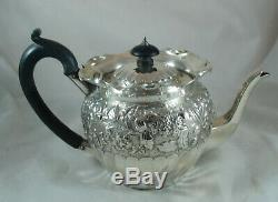 Victorienne Argent Batchelors Teapot Nathan & Hayes Chester 1895 386g Bzx
