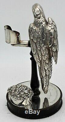 Victorienne Argent Sterling Nouveauté Inkstand. Parrot Sur Perche J. C Edington 1852