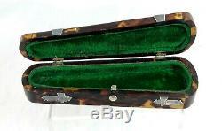 Victorienne Écaille De Tortue Et Argent Cheroot / Porte-cigare / Case Violin Case
