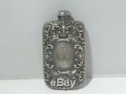 Victorienne / Edwardian En Argent Sterling Flask 1 Troy Ounce