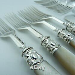 Victorienne En Argent Massif Nacre Dessert Menagere 11 Couteaux 12 Forks
