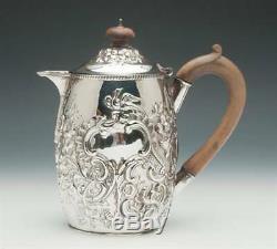 Victorienne En Argent Sterling Coffee Pot / Jug, Chased Main, Birmingham, Angleterre 1879