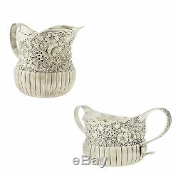 Victorienne Tiffany & Co. Repousse Sucre Sterling Silver Bowl & Creamer Jug 1880