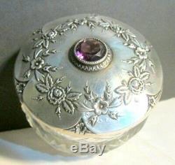 Victorienne Verre Antique Cut Dresser Pot Boîte Ornement Amethyst De Couvercle Sterling