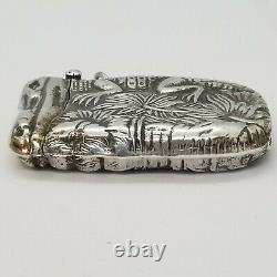 Vintage Alligator Sterling Silver Match Safe Vesta Watch Fob Collier Pendentif