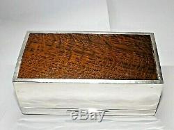 Vintage Art Déco Argent Massif Sterling Boîte À Cigares, Cigarettes Box Birmingham 1926