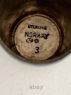 Vintage Norvège Argent Sterling Émail Élégant Viking Navires David Andersen Rare