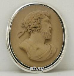 Vtg C1890 Victorien Grande 5cm 18g Solid Silver Lava Grec Dieu Zeus Cameo Broche